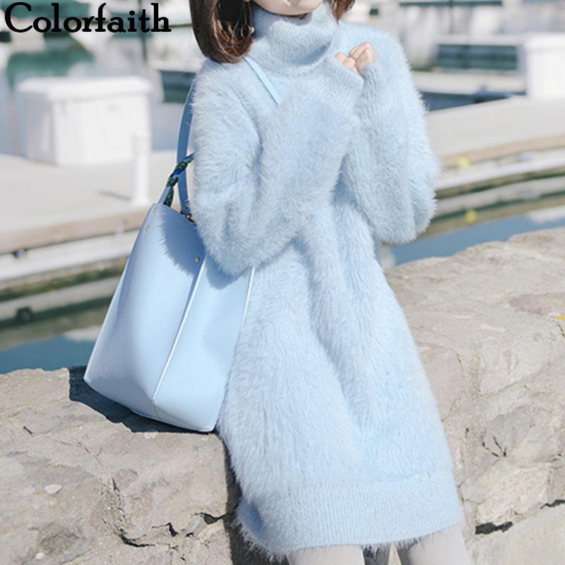 Colorfaith 2019 New Autumn Winter Women Sweaters Pullovers Turtleneck Fake Mink Cashmere Elegant Sweet Solid Weed Tops SW8106