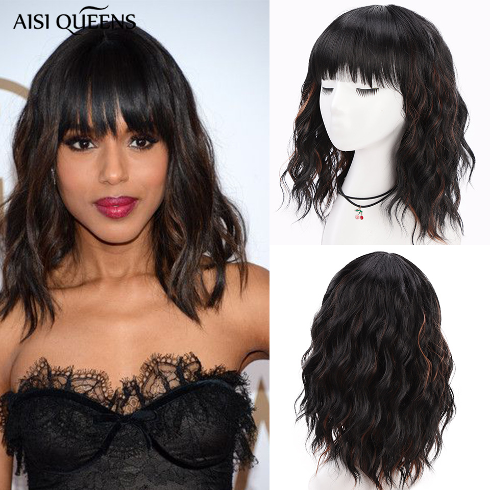 AISI QUEENS Short Synthetic Wigs With Bangs Water Wave Black Gold Ombre For Women Cosplay Wig Female Daily False Hair