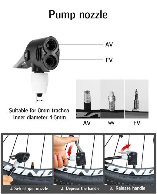 Pompa di bicicletta Ugello del Tubo Flessibile Adattatore Doppia Testa di Pompaggio Parti Accessori F/V Servizio A/V Schrader/Presta convertitore di valvola Inflatabl