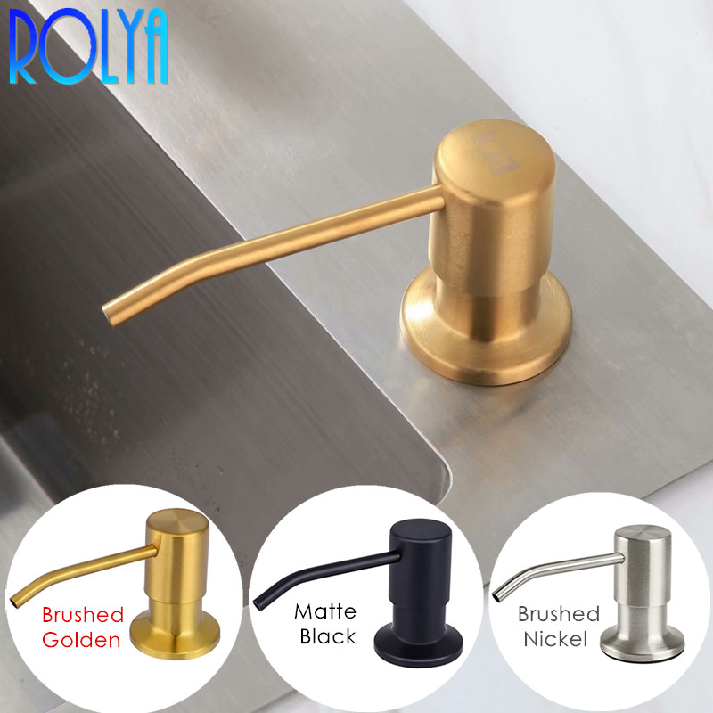 ROLYA Modern Nickel Brushed Golden/ Chrome/Black Countertop Liquid Dish Hand Pump Replacement Kitchen Sink Soap Dispenser