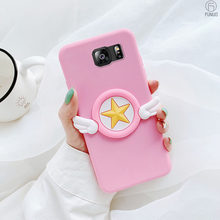 Sailor Moon Silicone Case For Samsung galaxy S6 S7 edge S8 S9 10 plus Note 8 Note 9 C9 pro soft cover With Silicone Stand Holder(China)