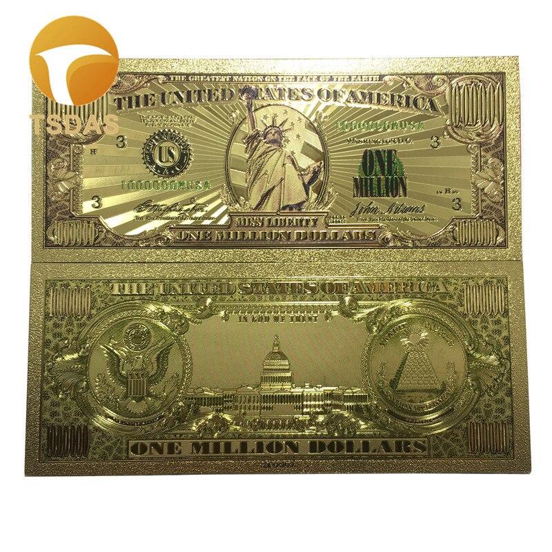 10 Buah Banyak Amerika Serikat Emas Uang Kertas 1 Juta Dolar Uang Kertas Di 24k Berlapis Emas Berwarna Untuk Koleksi Hadiah Uang Kertas Emas Aliexpress