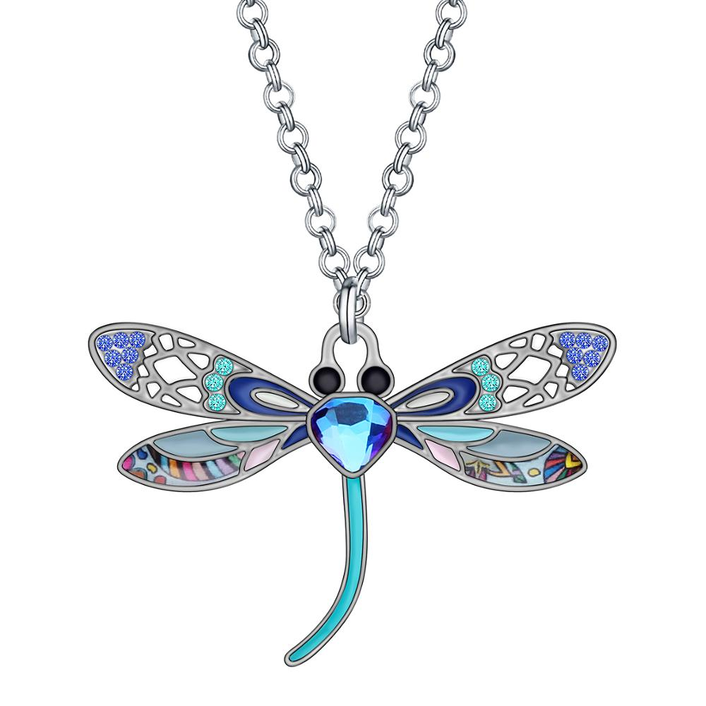 Retro Style Necklace Enamel Dragonflies Dragonfly Pendant Rhinestone Jewelry