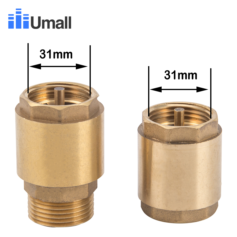 New 1 Inch Check Valve Brass Thread In-Line Spring Prevent Backflow Connector For Water Pump