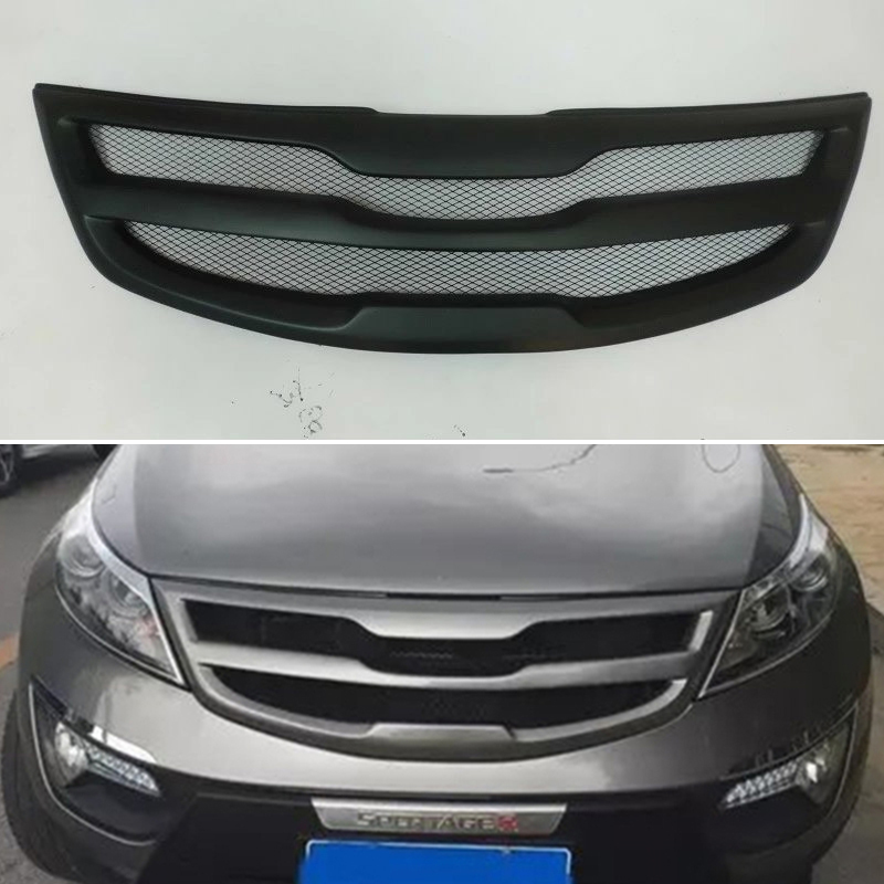 Body kit front bumper cover Refitting grill Accessories carbon fibre Racing Grills use for Kia Sportage R 2011 <font><b>2012</b></font> 2013 2014 image