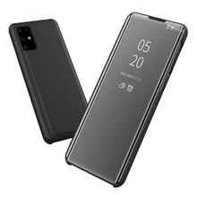 S20 + Spiegel Case Voor Samsung Galaxy S20 Ultra Leather Smart Clear View Flip Cover Voor Samsung S20 Plus Telefoon case S 20 Funda
