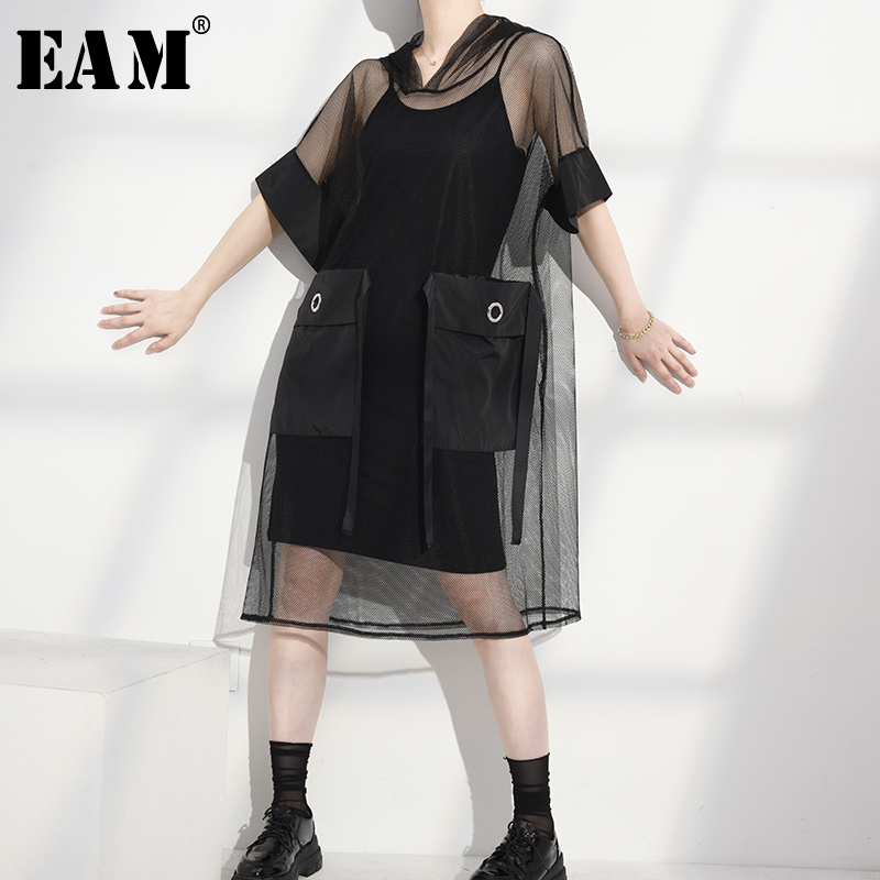 [EAM] Women Black Big Pocket Mesh Stitch Big Size Dress New Hooded Half Sleeve Loose Fit Fashion Tide Spring Summer 2020 1U90901
