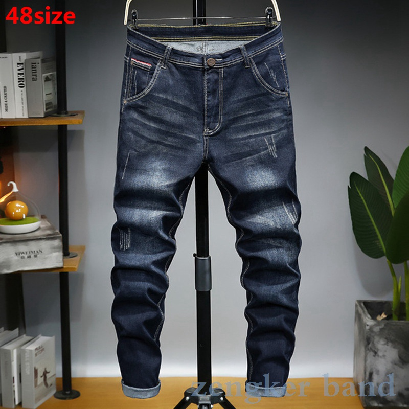 Plus Size Jeans Men 2020 Spring Loose Mid Waist Elastic Tide 48 46 Plus Size Youth Long Pants