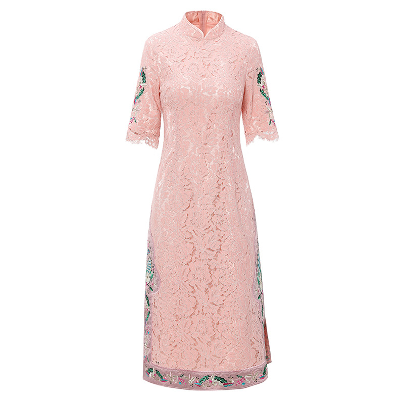 2019 Summer New Stand Collar Embroidery Slim Lace Dress