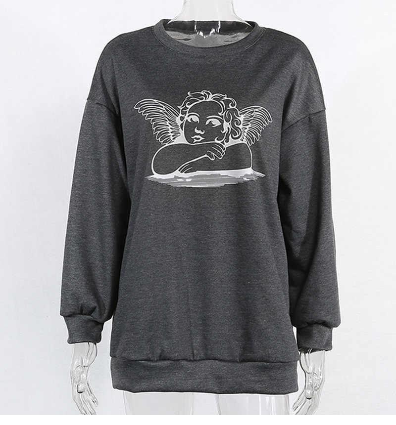 Streetwear harajuku gothic gewassen de oude grijze hoodie Angel oversized sweatshirt losse zweet femme