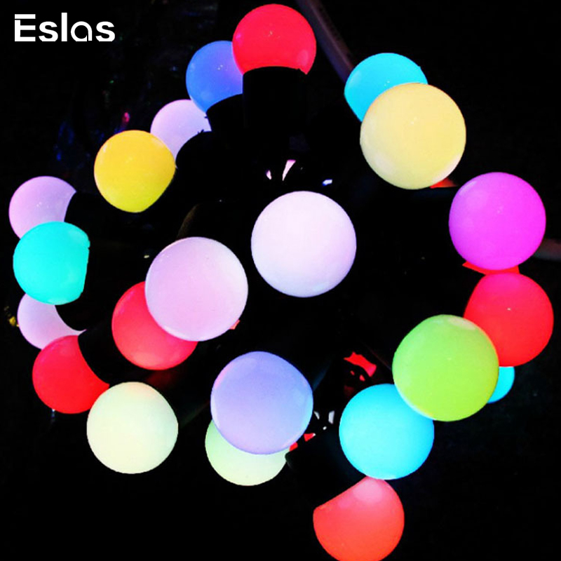 Eslas Fairy Garland LED Ball String Lights 220V EU Plug Waterproof IP65 Outdoor Ball Christmas Holiday Wedding Party Decotation