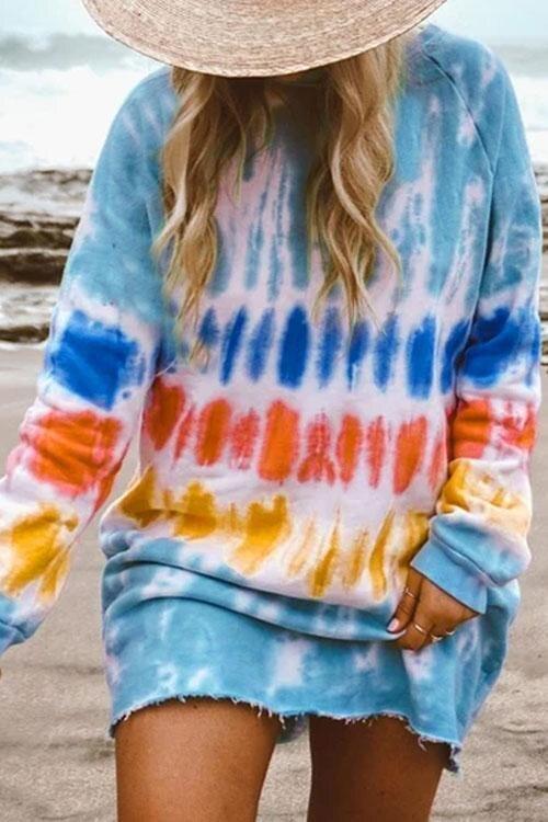 hirigin New Casual Rainbow Tie Dye Print Sweatshirt Dress for Women Long Sleeve O-Neck Mini Dress Female Loose Straight Dress 1