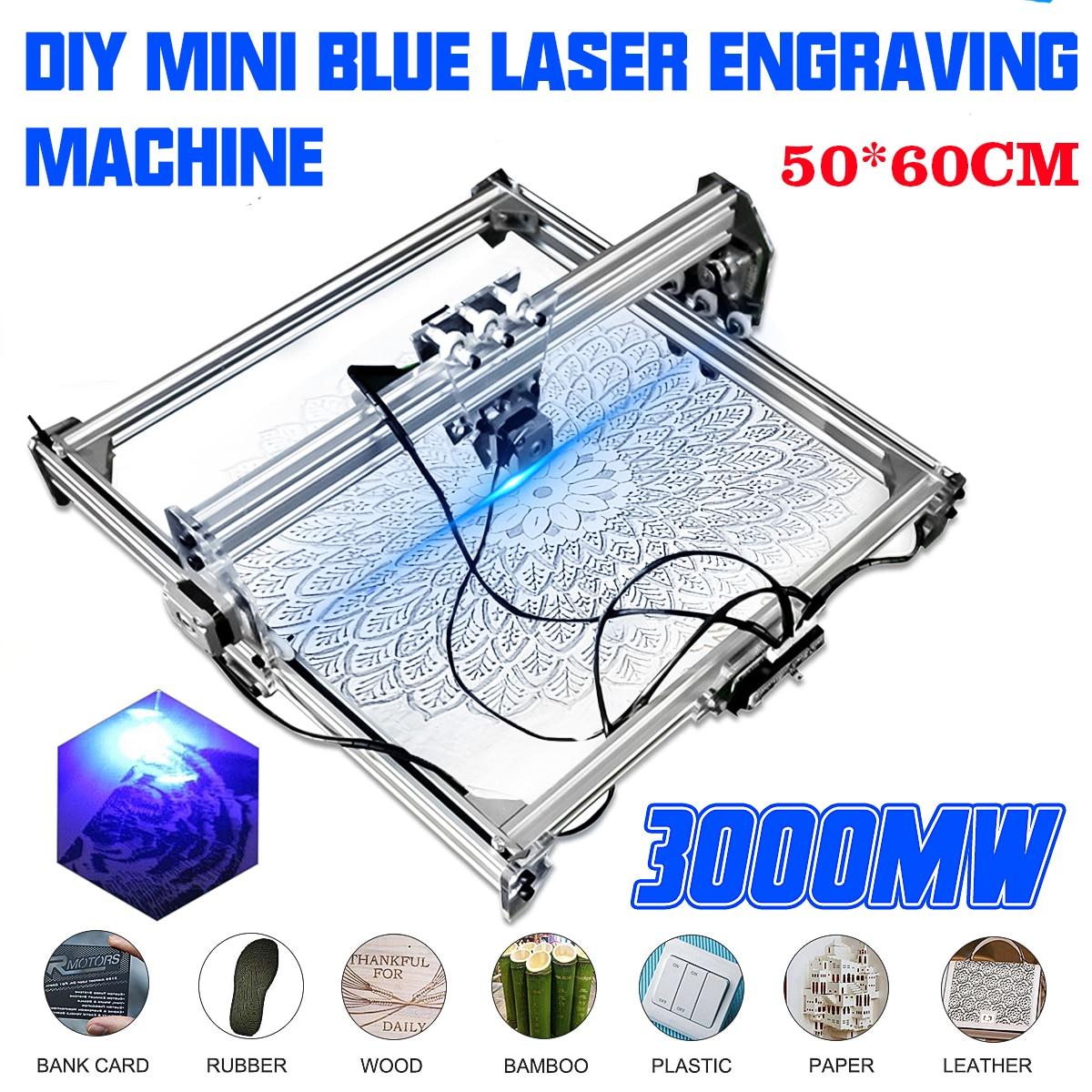 Graveur de bureau en bois, découpeur/imprimante + Laser, Mini, 3000MW au Laser à CNC bleu, 2 axes, 12V cd, 50*65 cm, MW - 5
