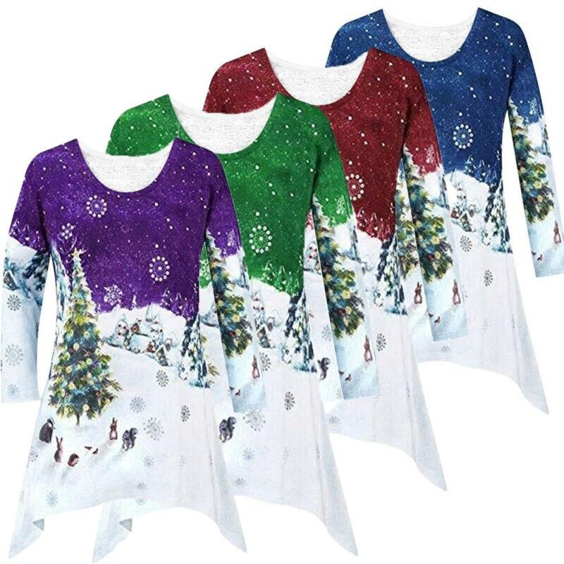 2019 Новая модная женская Рождественская Элегантная туника с вырезом лодочкой и снеговиком Sata Вечерние Повседневные платья размера плюс