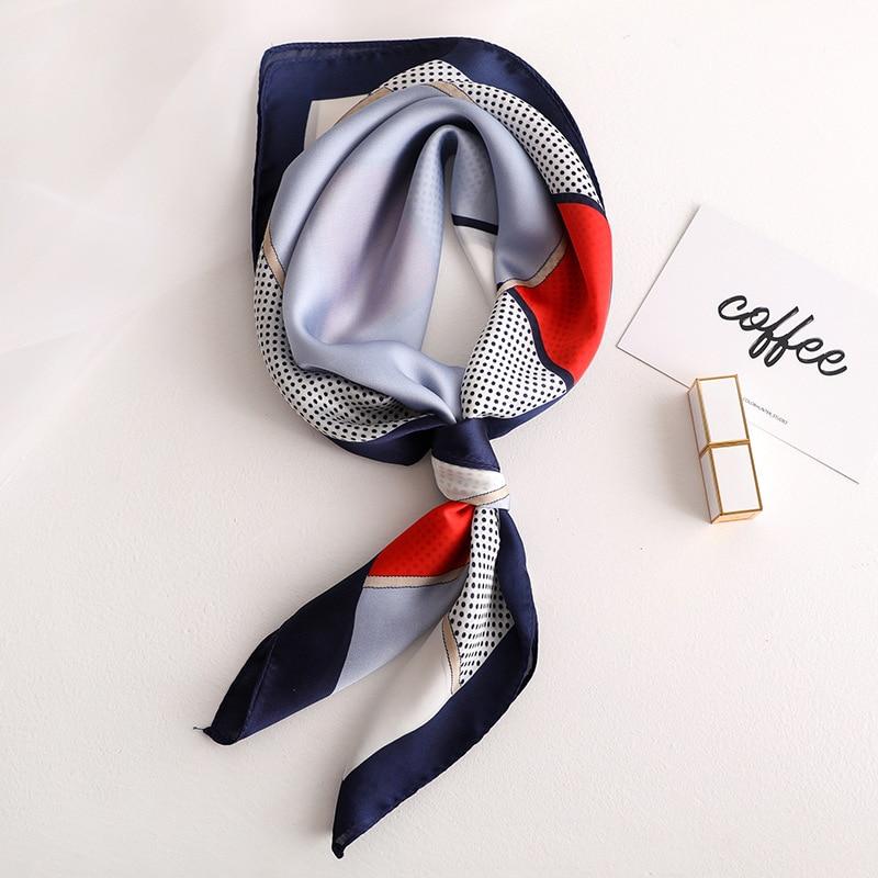 Elegant Women Kerchief Silk Satin Bag Scarf For Hair Fashion Dot Print Neck Scarves Female 70*70cm Small Shawl Scarfs For Ladies