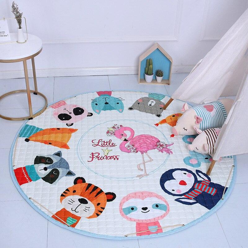 H49a33742015e42e0a14872fb73c078a5P Kid Soft Carpet Rugs Cartoon Animals Fox Baby Play Mats Child Crawling Blanket Carpet Toys Storage Bag Kids Room Decoration
