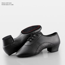 Men Latin Dance Shoes Black Low Heels Ballroom Dancing Shoes Boys Tango Salsa Rumba Modern Jazz Shoes
