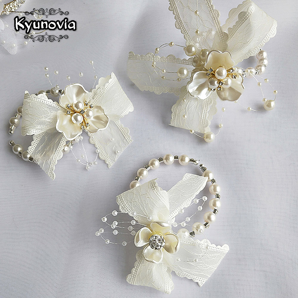 Lace Wrist Corsage Bridesmaid Sisters Pearl Hand Flower Artificial Bride Flowers For Wedding Dancing Party Decor Bridal Prom BY2