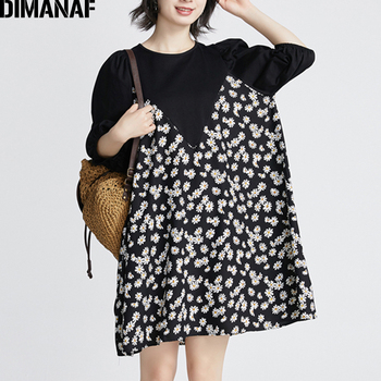 DIMANAF Summer Plus Size Blouse Shirts Women Clothing High Street Fashion Elegant Lady Tops Tunic Floral Print Spliced Black цена 2017