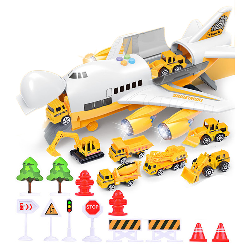 Music Story Simulation Track Inertia Children's Toy Aircraft Storage Passenger Plane Police Fire Rescue Baby Boy Toy Car,Yellow