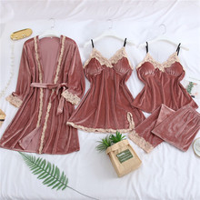 4 PCS Women Velvet Pajamas Warm Winter Pajamas Sets Sleepwear Soft Pleuche Nightwear For Pajama Party Women Sexy Lace Robe july s song 4 pieces velvet warm pajamas set women sexy lace sleepwear pajamas suit winter sling nightdress woman nightwear