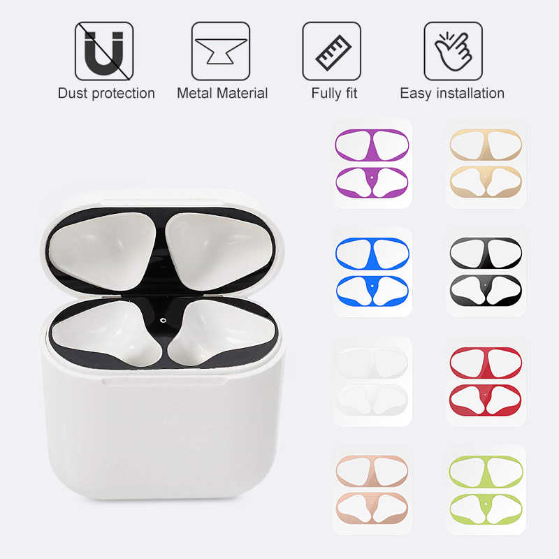 Metalen Dust Guard Sticker Voor Airpods 1 2 Skin Beschermende Sticker Voor Apple Airpods 1 Oortelefoon Opladen Box Case Cover shell Skin