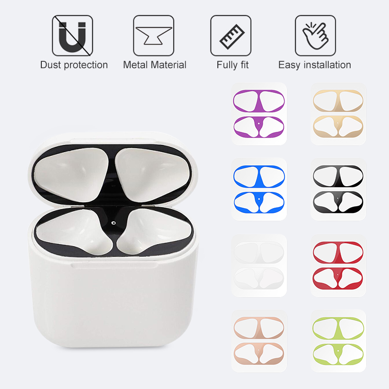Metal Dust Guard Sticker For Airpods 1 2 Skin Protective Sticker For Apple AirPods 1 Earphone Charging Box Case Cover Shell Skin