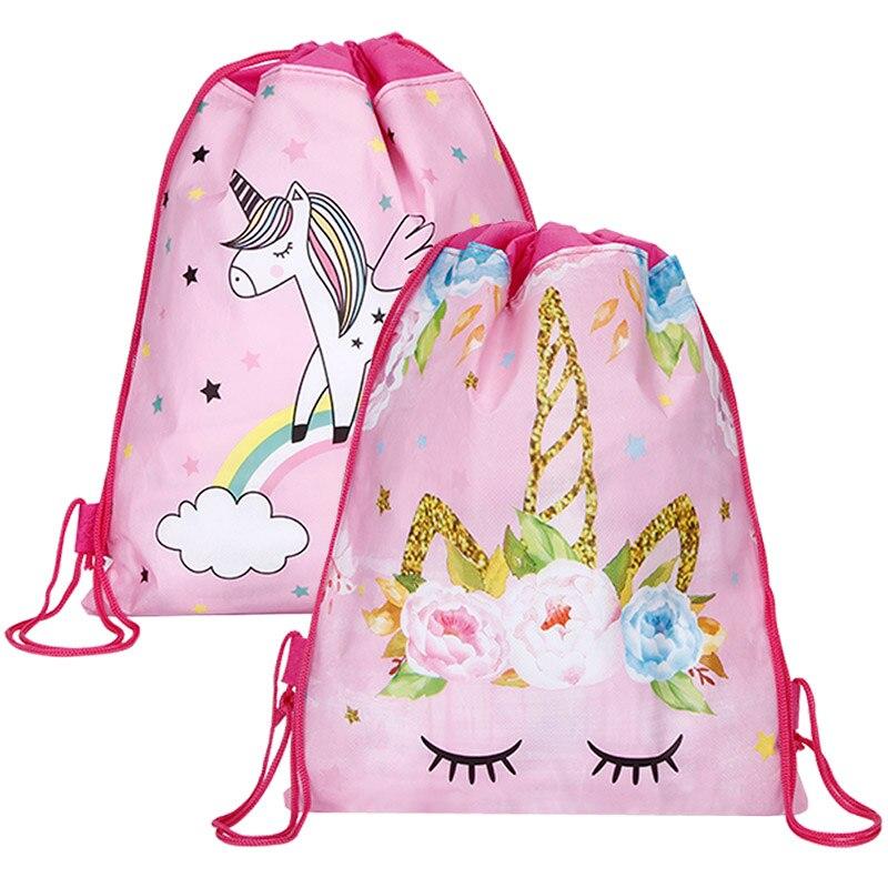 Envío Gratis, bolsa con cordón de unicornio para niñas, paquete de almacenamiento de viaje, mochilas escolares de dibujos animados, mochilas para niños, regalos para fiestas de cumpleaños Vestido de princesa de lentejuelas para niños 2019 vestido para niñas con apliques de unicornio de algodón de manga larga ropa de princesa para niños