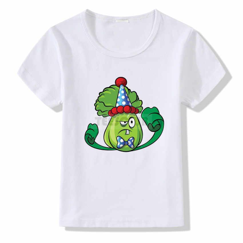 Crianças aniversário camiseta desenhos animados plantas vs zumbis impressão t camisa crianças meninos meninas verão camiseta topos de manga curta camisas brancas