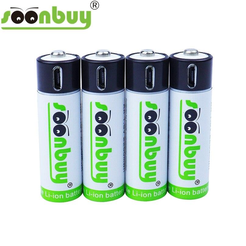 Soonbuy 1,5 в USB AA батарея 1500 МВт/ч 100% мАч литий-ионная Емкость литий-полимерная USB стандартная батарея кабель