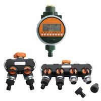 Electronic LED Display Rain Sensor Automatic Water Timer Garden Lawn Irrigation Watering Controller 2 way 4 way Hose Splitters