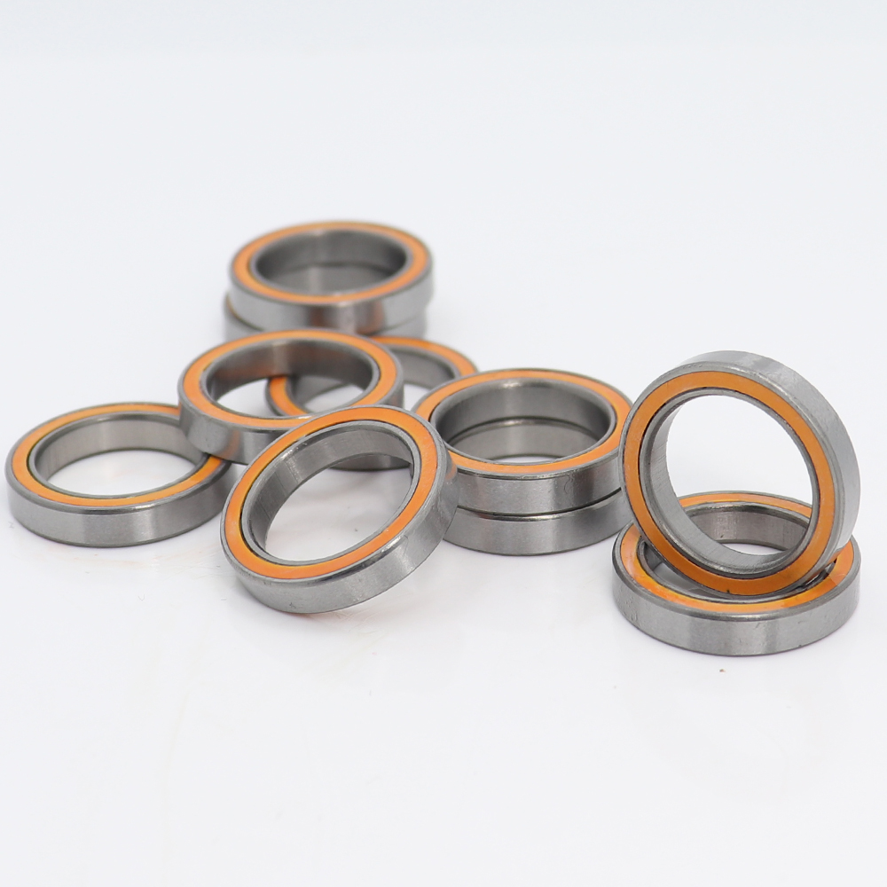 <font><b>6702RS</b></font> Bearing ABEC-3 (10PCS) 15*21*4 mm Thin Section 6702-2RS Ball Bearings 61702 RS 6702 2RS With Orange Sealed image