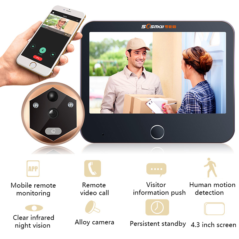 Wireless Wifi Video Intercom Doorbell Video Door Peephole Viewer Door Bell Home Security WIFI Doorbell Camera Motion Detection
