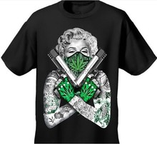 Fashion shirt Arrival Mens Tshirt Weed Bandana Marilyn CROSSED PISTOLS POT LEAF 420 TATTOOS Design Cotton Tee For Women T Shirt(China)