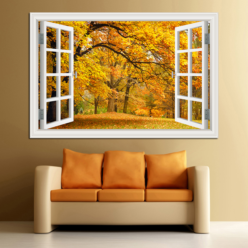 3D Window View Forest Landscape In Four Seasons 3D Wall Sticker Green Golden Tree Removable Wallpaper Home Decal Home Decor in Wall Stickers from Home Garden