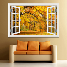 3D Window View Forest Landscape In Four Seasons 3D Wall Sticker Green Golden Tree Removable Wallpaper Home Decal Home Decor window elk landscape printed removable wall decal