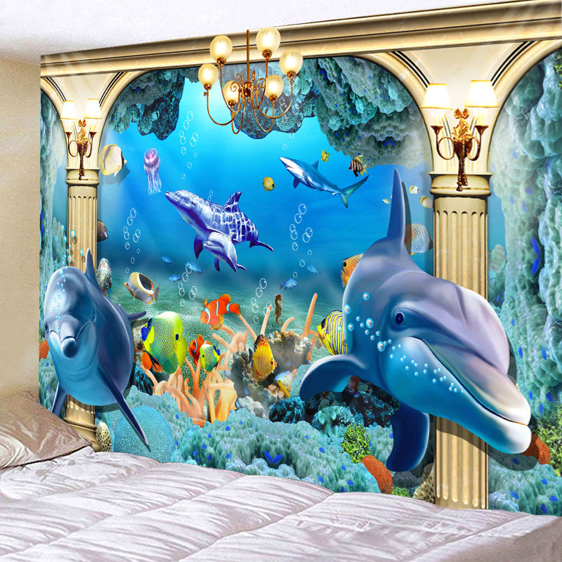 Tapestry Sea Fish Dolphin Tapestries Wall Hanging Home Deco Beautilf Multi Print  Free Shipping  Large Size  Ocean Fish