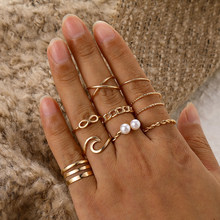Boho Gold Silber Farbe Perle Ringe Set Frauen Modus Geometrische Twist Hohl Offenen Ring Joint Finger Ringe Charme Schmuck