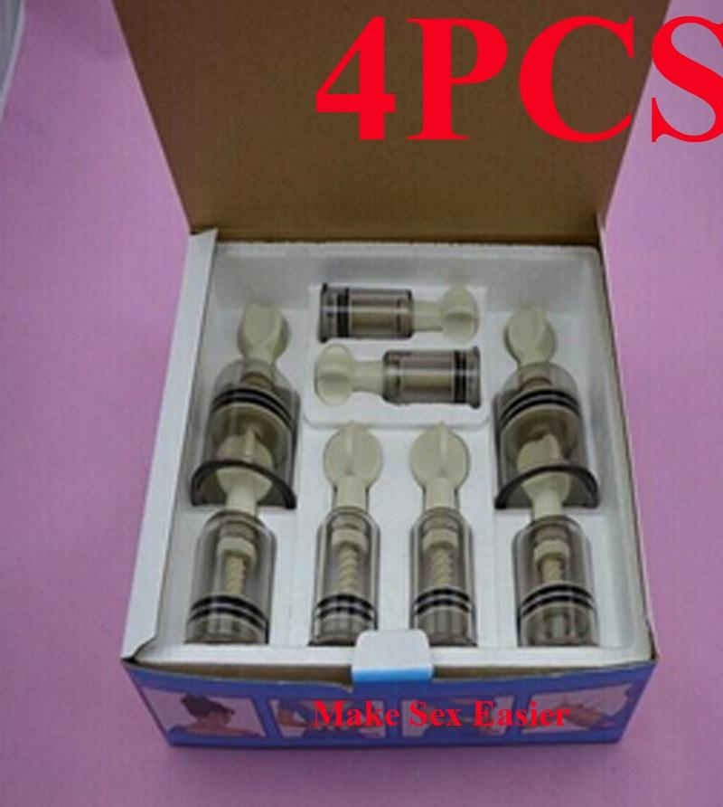 New 4PCS Set Fetish Vacuum Nipple Suction Cupping Bondage Sucker Enhancer Stimulator Enlarger BDSM Women Sex Toys For Women
