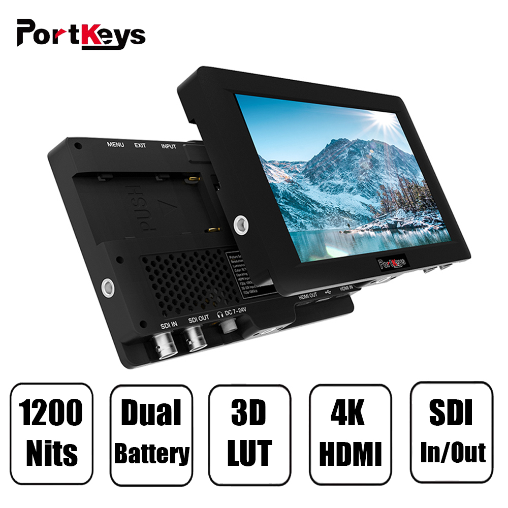 PortKeys HS7T High Bright 1200nit 3G SDI/4K HDMI On Camera Monitor 3D LUT,Black