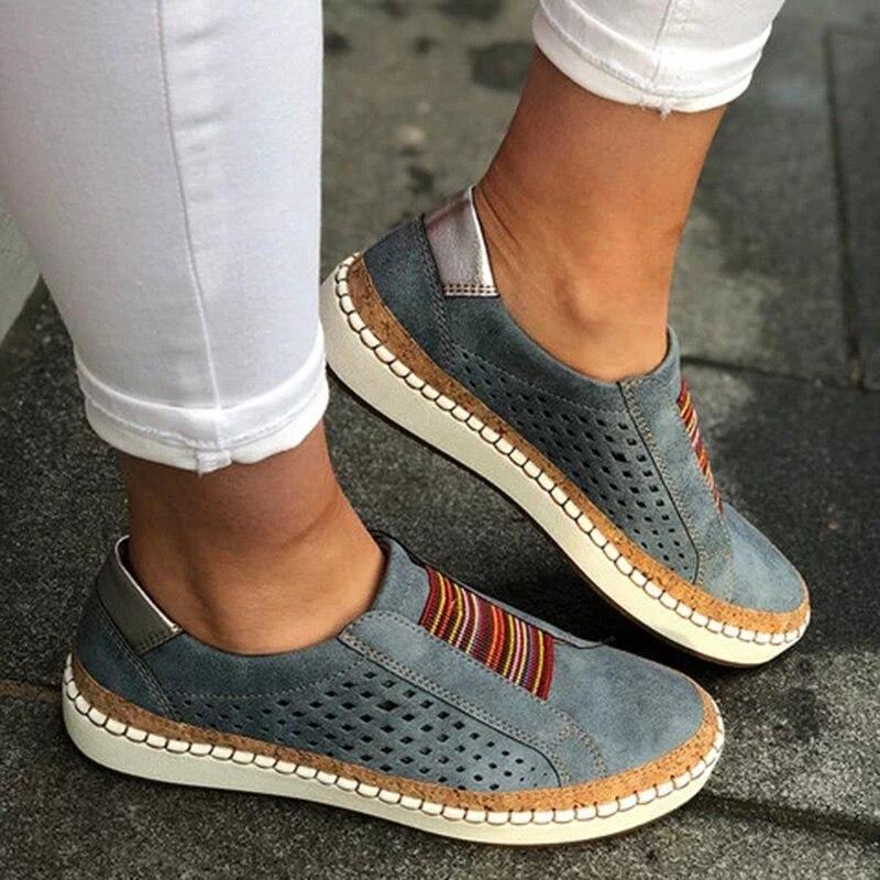 2019 Women Elastic band sneakers flat shoes tenis feminino casual mesh walking footwear sneakers women Ethnic style shoes D25 in Walking Shoes from Sports Entertainment