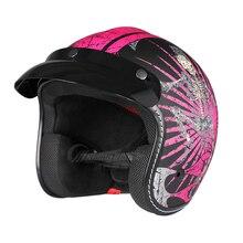 Women Motorcycle Helmet Half 3/4 Open Face Vintage Fashion Unisex Helmet for Motorbike Riding Scooter Commute Casco De Moto P902