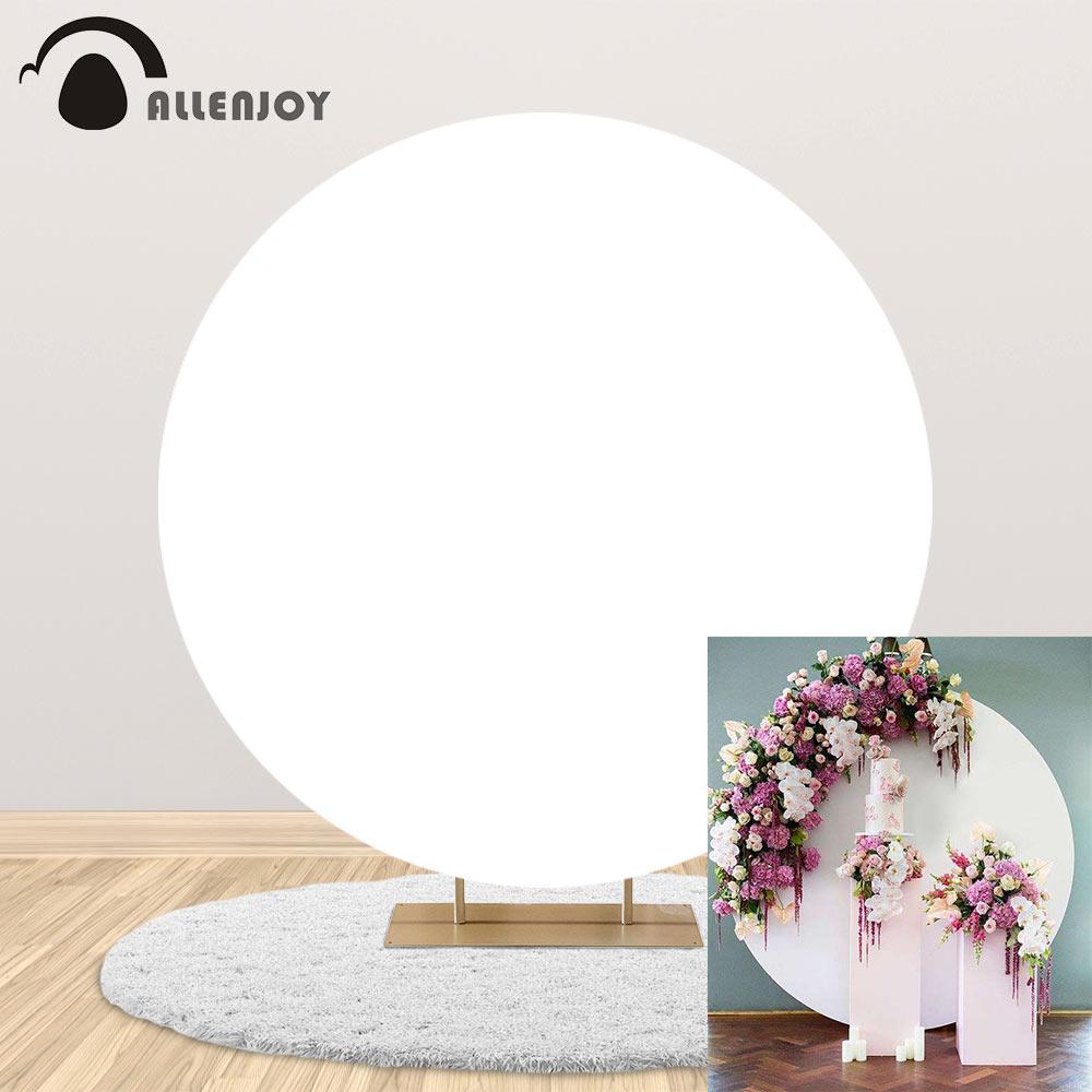 Allenjoy branco puro círculo círculo pano de fundo capa casamento chá de fraldas festa de aniversário decoração personalizado foto fundo banner