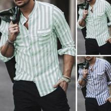 Fashion Men Casual Long Sleeved Shirt Striped Pockets Stand Collar Long Sleeve Shirts Top Button Design Shirt цена 2017