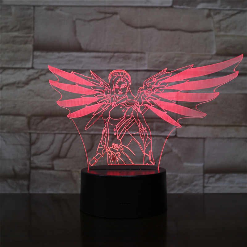 Oyun Led gece lambası Overwatch kahraman Angela Ziegler gece lambası odası dekor çocuk çocuk çocuk hediye düşük merhamet masa 3d gece lambası yatak odası