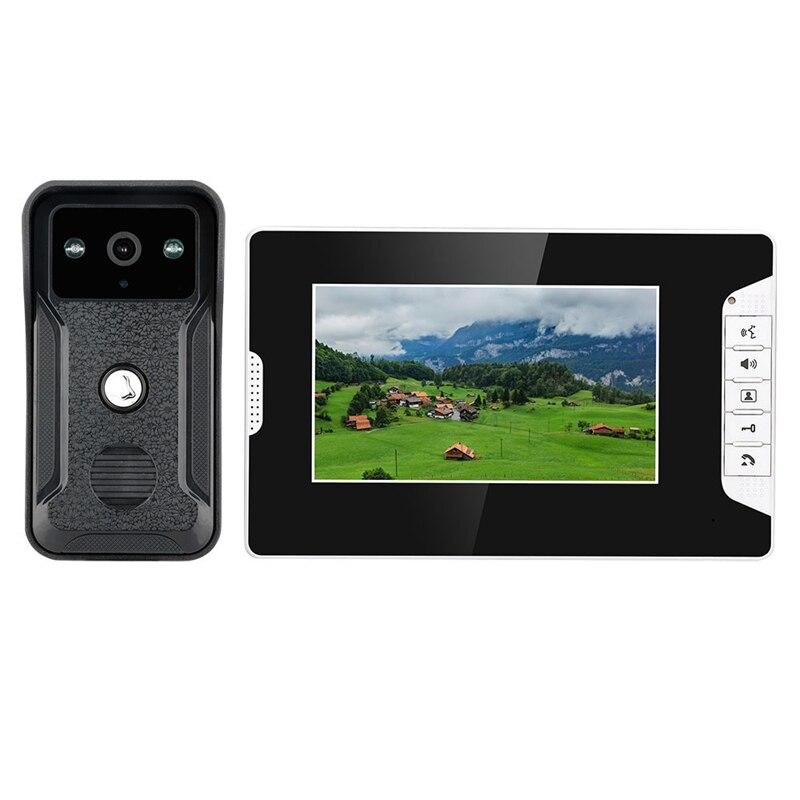 Mountainone 7-Inch Display Cable Video Phone Doorbell Infrared Rainband European Standard Plug Intercom System Black Abs+Aluminu