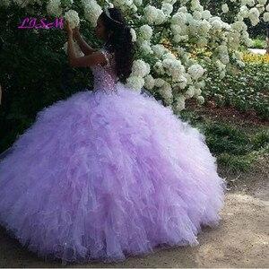 Image 2 - Liliowa suknia Quinceanera sukienki 2020 bufiasta spódnica tiul słodka 16 sukienka długi tiul suknia na bal maturalny vestido 15 anos