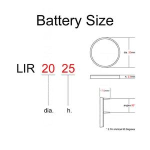 Image 3 - Литий ионная аккумуляторная батарея LIR2025 с 2 контактным вертикальным аккумулятором 90 градусов 3,6 В, Литиевые кнопочные батареи для монет, 2025 заменяет VL2020