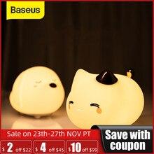 Baseus חמוד LED לילה אור רך סיליקון מגע חיישן לילה אור לילדים ילדים שינה נטענת שליטה ברז לילה מנורה