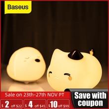 Милый светодиодный ночник Baseus, мягкий силиконовый Ночной светильник с сенсорным датчиком, для детской, спальни, перезаряжаемый ночник с сенсорным управлением